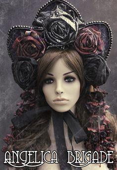 Make bonnet from straw hat_floral-headpiece_gothic-lolita_victorian_headdress_