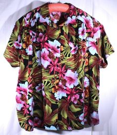A Personal Touch Size 4X Pink Green Hawaiian Floral Print Blouse Shirt USA #APersonalTouch #Blouse #Career