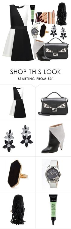 """Black & White"" by luckystrawberry ❤ liked on Polyvore featuring Milly, Fendi, Lafonn, IRO, Jaeger, Bertha and Lancôme"