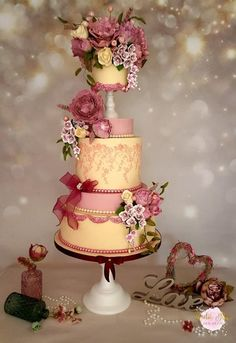 Rose Peony  Wedding Cake - Cake by Amelia Rose Cake Studio