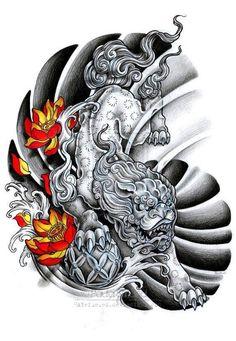 Foo Dog Original Tattoo Design Awesome oriental design of foo dog and lotus flowers. Japanese Dragon Tattoos, Japanese Tattoo Art, Japanese Tattoo Designs, Japanese Sleeve Tattoos, Asian Tattoos, Trendy Tattoos, Leg Tattoos, Body Art Tattoos, Cool Tattoos