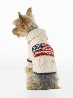 Shawl-Collar Flag Dog Sweater - For the Pet Home - RalphLauren.com