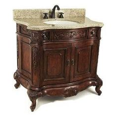 Old world style vanity for downstairs bathroom. Downstairs Bathroom, Single Bathroom Vanity, Small Bathroom, Bathroom Towels, Bathroom Ideas, Primitive Bathrooms, Rustic Bathrooms, Tuscan Bathroom Decor, Bad Inspiration