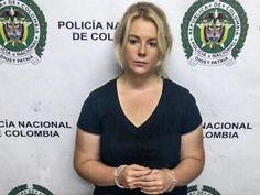 Cassie Sainsbury pictured following her arrest at El Dorado International Airport on April 11. Picture: Supplied