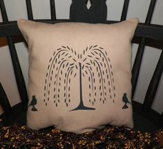 UNSTUFFED Primitive Pillow COVER Crows Willow Tree Country Home Decor Handmade Decorative Cushion Decoration Colonial Style wvluckygirl
