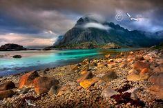 Mountain scene near Henningsvaer, Lofoten Islands, Norway.
