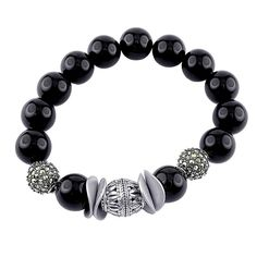 """""""Transcendence Slip-On #Bracelet"""" All in the details: 1. Onyx Gemstone Beads 2. Marcasite Pave Beads 3. Center Oxidized #Silver Bead 4. High Polished Curved Round Disks PRICE: $200.00"""