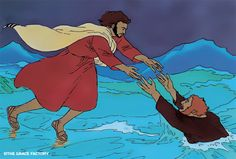 Jesus Messiah comic: Walk on water with Peter. Jezus Messias strip.