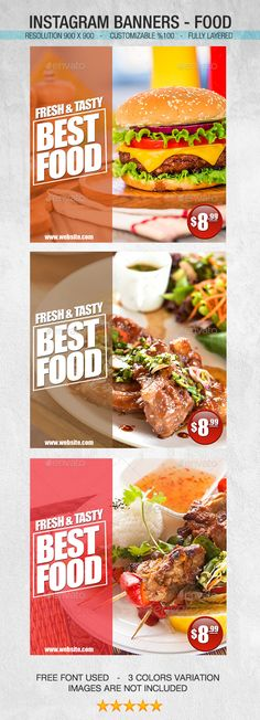 Instagram Banners  Food — Photoshop PSD #banners #social media • Available here → https://graphicriver.net/item/instagram-banners-food/14435926?ref=pxcr