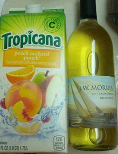 Sangria: Two bottles of white wine (Moscato or Pinot Grigio works best). One Tropicana Peach Orchard Punch. Add cut up peaches, nectarines and white grapes. Chill in the fridge overnight. Yum.