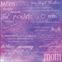 Mom Words Scrapbook Paper