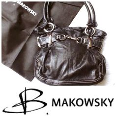 B. MAKOWSKY Genuine Leather Hobo Bag B. Makowsky Black 100% Genuine Soft Leather Bag with MULTIPLE STORAGE COMPARTMENTS. DUST BAG INCLUDED. In Great Condition. Shoulder straps have usual in-noticeable wear (See picture 4). b. makowsky Bags Hobos