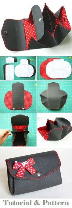 Coin purse wallet from Kraft-Tex paper. DIY tutorial in pictures. Pattern http://www.handmadiya.com/2015/10/purse-kraft-tex-fabric-tutorial.html #fabrics #handbagsdiytutorials #diypurse