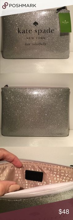 "Kate Spade ♠️ pouch clutch SILVER Kate Spade clutch/pouch in a glittery silver color with approximate measurements of 10"" x 7"". Great gift idea!! kate spade Bags Clutches & Wristlets"