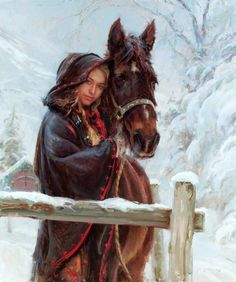 """""""Wrapped in Winter"""" (Oil painting) Artist: Daniel F. Wow Art, Equine Art, Horse Girl, Western Art, Beautiful Paintings, Female Art, Painting & Drawing, Knife Painting, Woman Painting"""