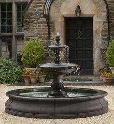 great look for the front yard. Caterina Outdoor Water Fountain in Basin from the Outdoor Fountain Pros. Concrete Fountains, Stone Fountains, Garden Fountains, Large Outdoor Fountains, Garden Ponds, Koi Ponds, Front Yard Fountains, Yard Water Fountains, Fountain Garden