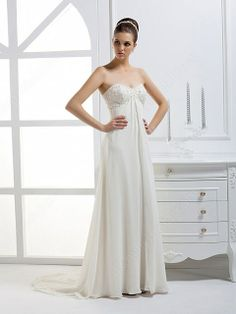 2012 Fall Sweetheart Chiffon Bridal Gown With Empire Waistmight Be Cute If Short For Eloping