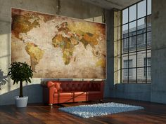Amazon.com: World Map Photo Wallpaper - Vintage Retro Motif - Xxl World Map Mural - Wall Decoration: Posters & Prints