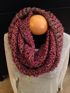 Handmade knit infinity winter scarf - Wisteria. By: Scarves by Chelsey #knit #infinity #scarf #handmade #scarves #winter #warm #fashion www.facebook.com/scarvesbychelsey Check us out on Etsy!