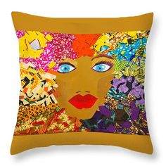 "The Bluest Eyes Throw Pillow by Apanaki Temitayo M.  Our throw pillows are made from 100% spun polyester poplin fabric and add a stylish statement to any room.  Pillows are available in sizes from 14"" x 14"" up to 26"" x 26"".  Each pillow is printed on both sides (same image) and includes a concealed zipper and removable insert (if selected) for easy cleaning."