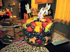 Dog themed Fruit Salad. Birthday Party for Sundae the Westie. Note the dog shaped cantaloupe. Use cookie cutters on fruit!