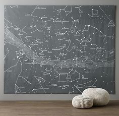 DIY Thursday! How neat would this constellation wall mural look in your hallway, or even in a kids bedroom? #murals #stenciling #DIY #wallart #art #constellations #interiordesignideas #interiordesigner #interiordesign #magazineworthy #shelterporn #decor #scoutdecor
