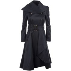 MCQ BY ALEXANDER MCQUEEN QK06401 BLACK POLYESTER/COTTON/ELASTANE 46 (€645) ❤ liked on Polyvore featuring outerwear, coats, jackets, dresses, coats & jackets, women, draped trench coats, double-breasted coat, mcq by alexander mcqueen and trench coat