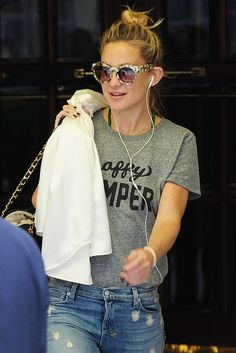 Sub_Urban Riot Happy Camper Loose Tee in Heather Grey, as seen on Kate Hudson