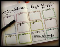 Future log (Bullet Journal) Sandrine VACHON http://vachonscrap.canalblog.com