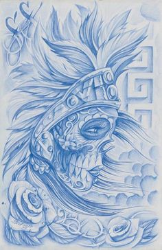 Aztec Muerta Steve Soto Tattoo Designs Giclee Art Print . This is the best sugar skull I have ever seen!!!!!!!!!!!!! I want it!!!!!!!