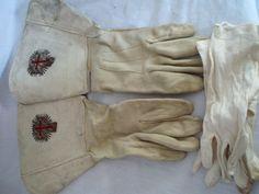 Masonic Knights Templar White suede dress gauntlet gloves