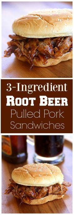 Beer Pulled Pork Sandwiches Recipe - Slow Cooker Crock Pot Root Beer Pulled Pork - great for feeding a crowd. Root Beer Pulled Pork - great for feeding a crowd. the-girl-who-ate- Slow Cooker Recipes, Crockpot Recipes, Cooking Recipes, Crowd Recipes, Meat Recipes, Recipies, Healthy Cooking, Lunch Recipes, Crock Pot Sandwich Recipes