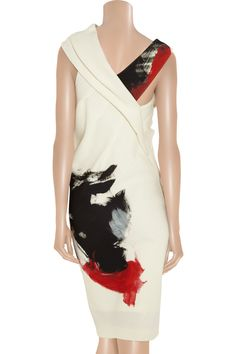 Artist draped stretch-jersey dress by Donna Karan    Love the colors and brush strokes.   Reminiscence of Asian calligraphy