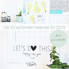 Die 20 schönsten Kalender für 2015 Free Printable
