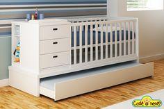 Berço Trasformare Home Bedroom, Kids Bedroom, Bedroom Furniture, Furniture Design, Girl Nursery Bedding, Baby Room Decor, Baby Cribs, Kid Beds, Babies