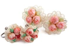 Vintage Seashell Earrings Bridal Pink Rose Bouquets on Lace by Gems of the Ocean on the Original Cards by bigbangzero on Etsy https://www.etsy.com/listing/525213911/vintage-seashell-earrings-bridal-pink