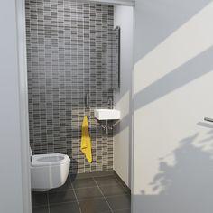 Clou - Flush 5 concept toiletruimte. Deze ruimte is voorzien van een First hangtoilet. De hoekfontein is een Flush 5 en gemaakt van wit keramiek. De zeepdispenser is uit de Sjokker serie van Clou.