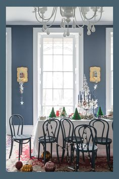 All F&B Walls: Stiffkey Blue No.281 Modern Emulsion Ceiling: Wevet No.273 Estate Emulsion Woodwork: Dimpse No.277 Estate Eggshell Floor down pipe chairs also stiffkey blue