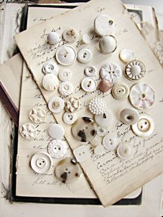 vintage white button mix - early plastics - shabby distressed lot