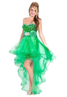 Sparkly Prom Dresses | Cute sparkly green sequin high low prom dresses for special occasion ...