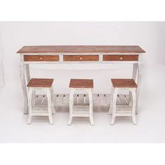 """4-piece distressed mahogany wood console table and stool set in white.  Product: Console table and 3 stoolsConstruction Material: Mahogany woodColor: Natural and white Features: Table has three drawers and one bottom shelf  Dimensions: Console Table: 30"""" H x 59"""" W x 15"""" DStool: 19"""" H x 15"""" W x 15"""" D each"""