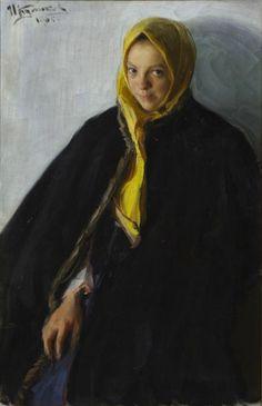 Иван Семенович Куликов. Девушка в желтом платке. 1905 Приморская гелерея