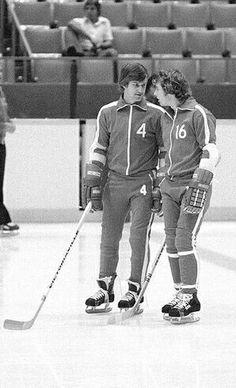 With Bobby Clarke at a Team Canada practice. Hockey Girls, Hockey Mom, Hockey Teams, Hockey Players, Ice Hockey, Boston Bruins Hockey, Pittsburgh Penguins Hockey, Chicago Blackhawks, Flyers Players