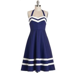 Bea & Dot Nautical Mid-length Halter A-line Georgia Gallivanting Dress ($125) found on Polyvore featuring dresses, vestidos, blue, apparel, fashion dress, holiday party dresses, a line dress, night out dresses, blue striped dress and embellished dresses