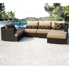 For New Screened in Porch!! Niko 6-piece Patio Deep Seating Modular Sectional by Sirio™