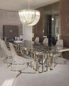 Luxury Dining Tables, Elegant Dining Room, Luxury Dining Room, Modern Dining Table, Dinning Table Design, Dining Room Table Decor, Dining Room Walls, Living Room Decor, Home Interior Design