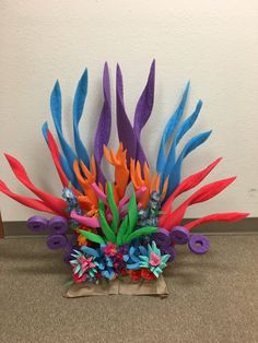 Coral for underwater theme made by cutting a pool noodle an Ocean Party, Shark Party, Luau Party, Little Mermaid Birthday, Little Mermaid Parties, Under The Sea Theme, Under The Sea Party, Under The Sea Decorations, Beach Decorations