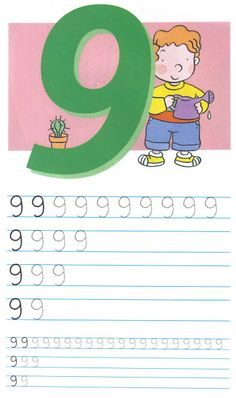 schrijfoefening 9 Numbers Preschool, Math Numbers, Preschool Math, Math Classroom, Kids Learning Alphabet, Baby Learning, Math Games, Math Activities, Phonics Song