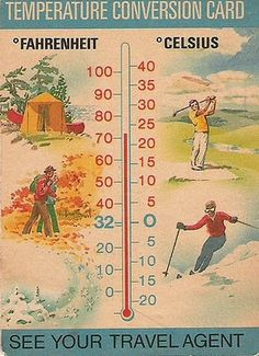 Vintage Temperature Coversion Card Provided by Travel Agent