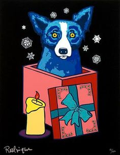 The dog looks like a deer in headlights, LOL,Christmas Blue